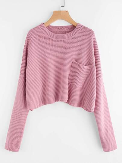Pocket Front Rib Knit Boxy Jumper