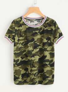 Striped Trim Camo Tee
