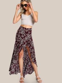 Floral Print Hi Lo Ruffle Hem Skirt PLUM