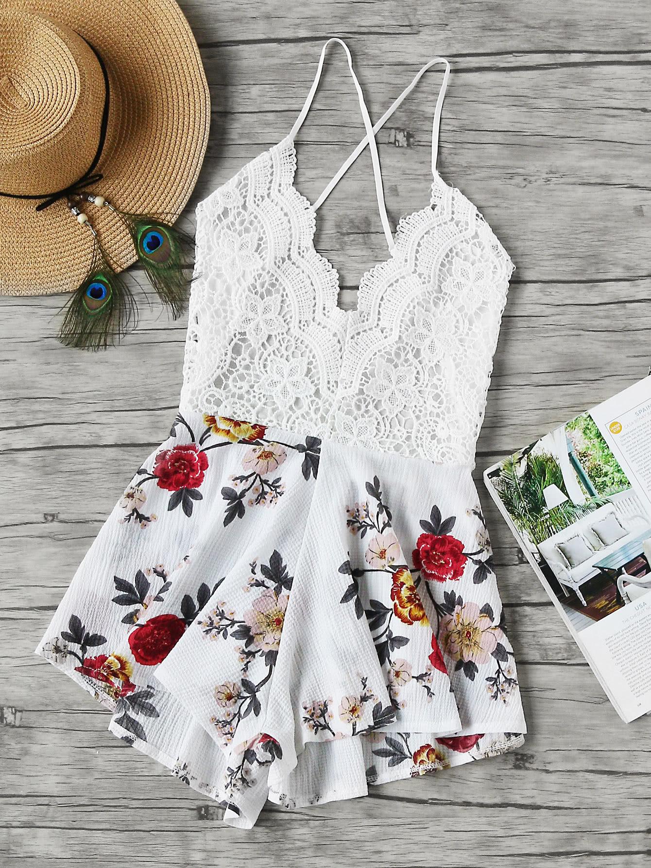 Фото Floral Print Lace Paneled Criss Cross Backless Romper. Купить с доставкой