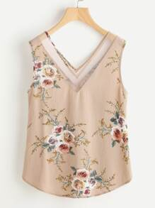 Mesh Double V Neck Curved Floral Tank Top