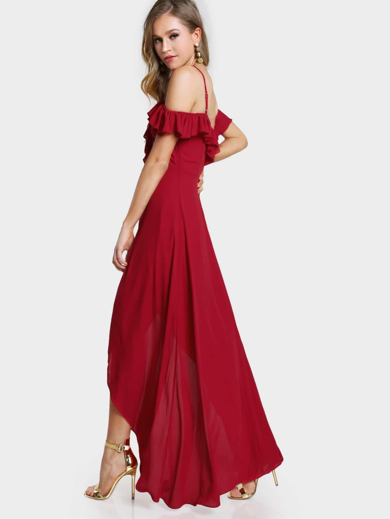 Frill Cold Shoulder Plunge Sweetheart Wrap Dress