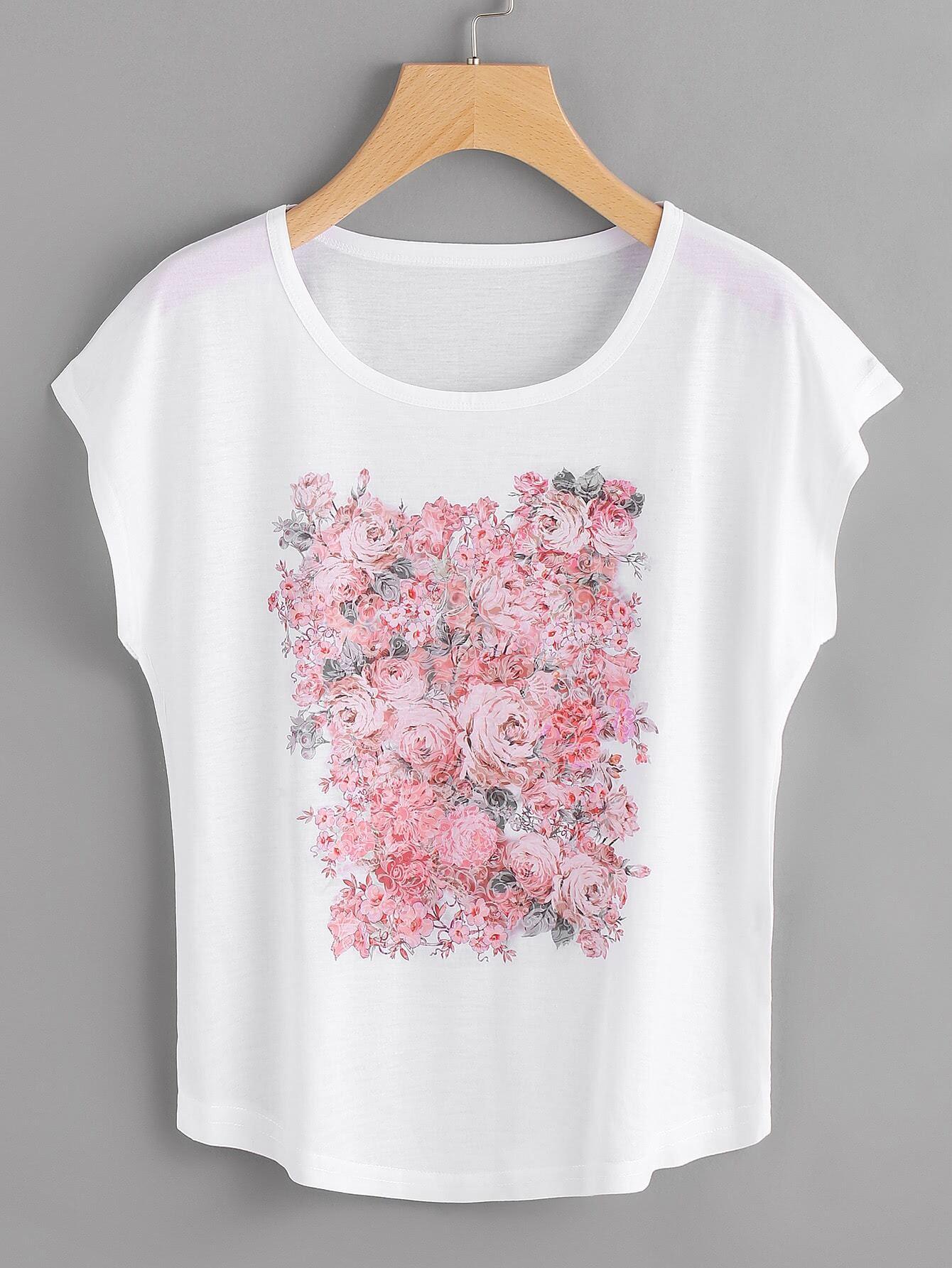 Фото Rose Print Dolman Sleeve T-shirt. Купить с доставкой