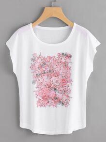 T-Shirt mit Rosemuster und Dolmanärmeln