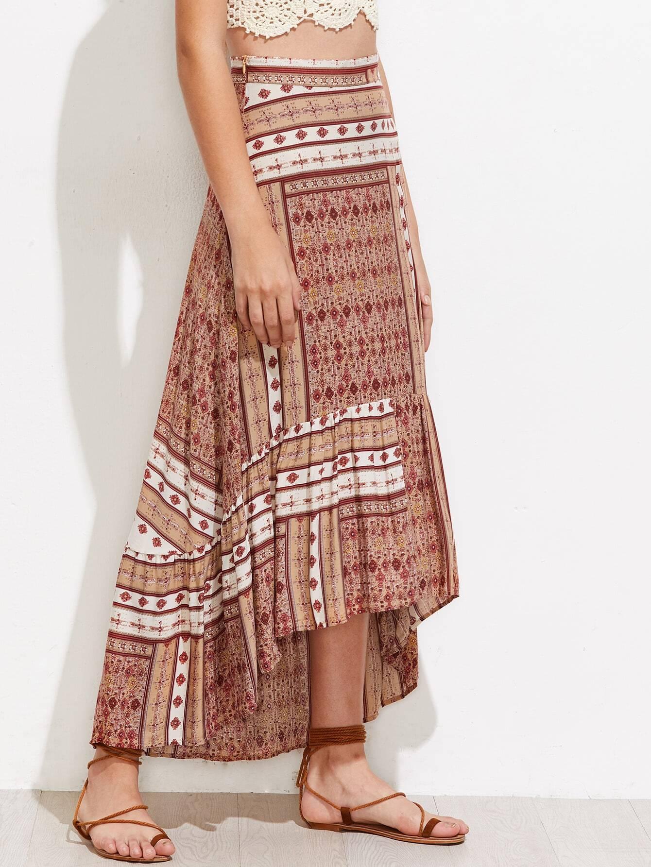 Aztec Print High Low Frill Hem Skirt
