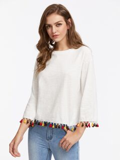 Colorful Tassel Trim Slub Tee