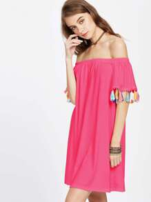 Off Shoulder Tassel Trim Dress pictures