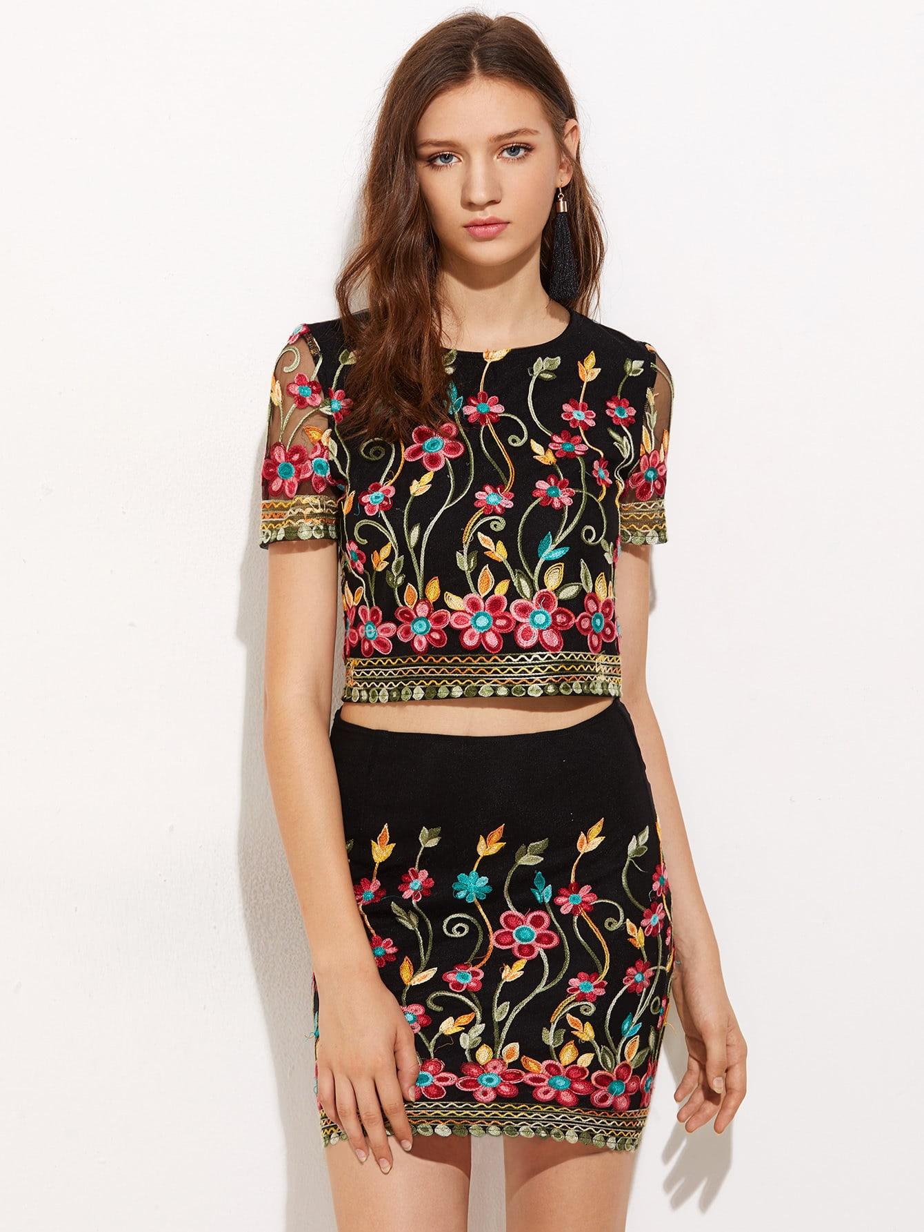 Фото Embroidered Mesh Overlap Top And Bodycon Skirt Co-Ord. Купить с доставкой