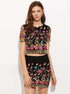 Embroidered Mesh Overlap Top And Bodycon Skirt Co-Ord