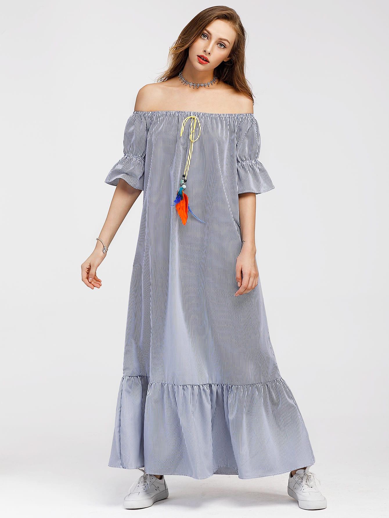 Bardot Frill Trim Tie Detail Pinstriped Dress embroidered tape detail beading trim bardot top