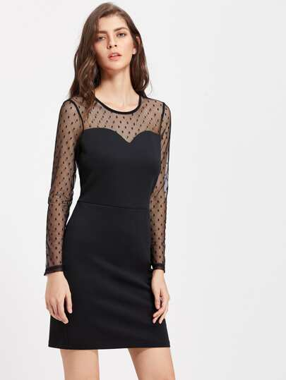 Dobby Mesh Sweetheart Bodycon Dress