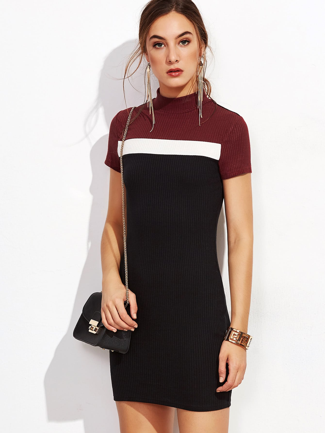 Color Block Mock Neck Ribbed Bodycon Dress