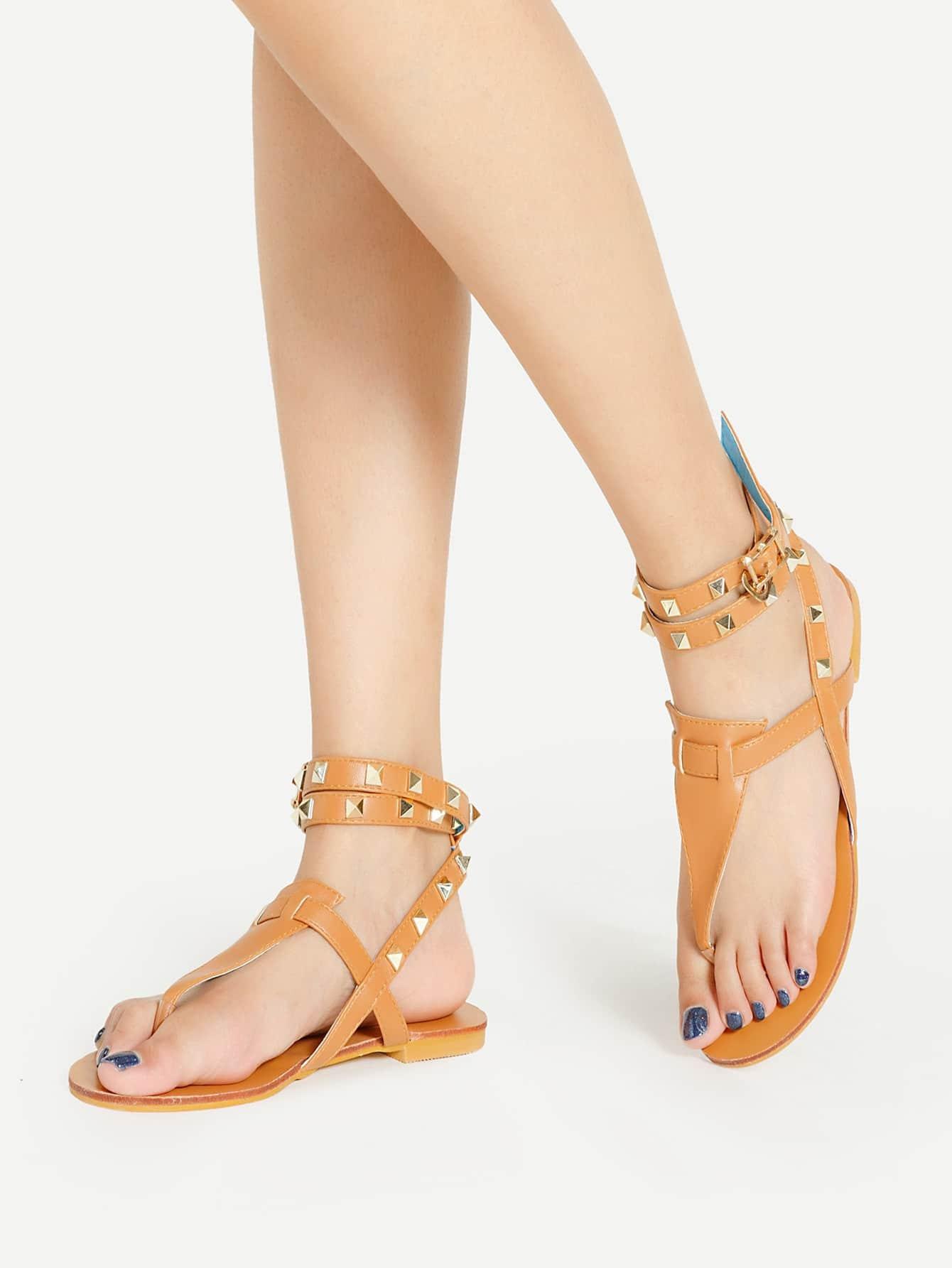 Фото Rockstud Detail Ankle Wrap PU Sandals. Купить с доставкой