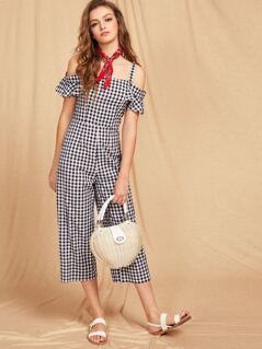 Cold Shoulder Ruffle Sleeve Structured Gingham Jumpsuit