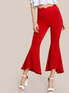 Scalloped Waistband Staggered Hem Flare Pants