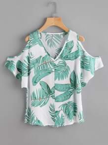 V Neckline Open Shoulder Banana Leaf Print Blouse