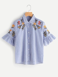 Trumpet Sleeve Flower Embroidered Pinstripe Blouse