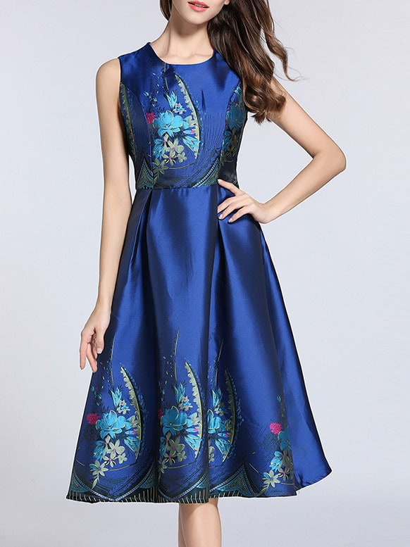 Фото Flowers Jacquard Pleated A-Line Dress. Купить с доставкой