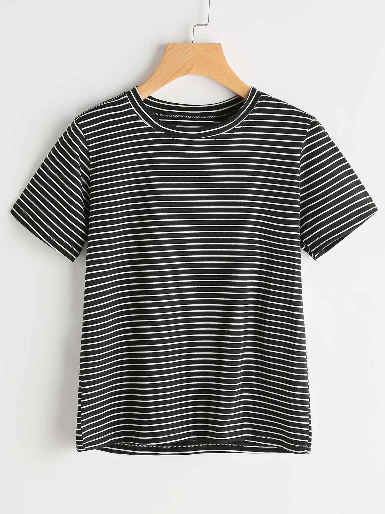 Short Sleeve Pinstripe Tshirt striped longline tshirt