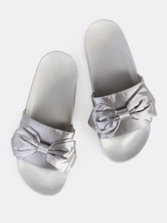 Bow Satin Slides LIGHT GREY