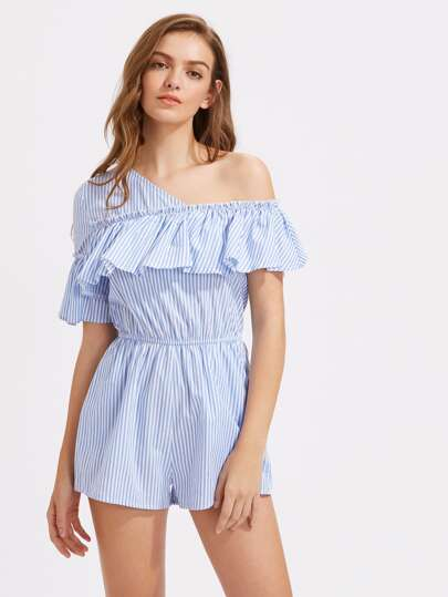One Shoulder Frill Trim Pinstripe Romper