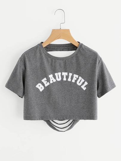 Letter Print Ripped Back Crop Heathered T-shirt