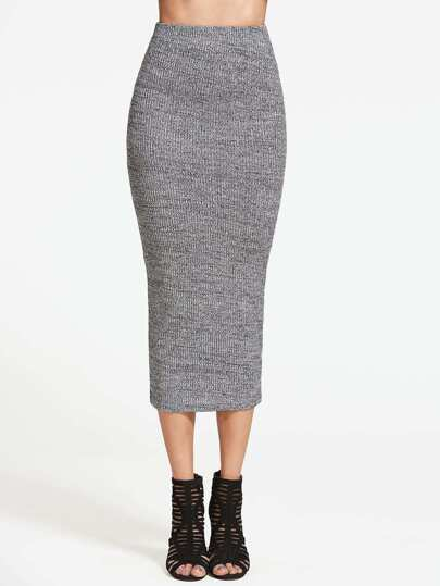Ribbed Knit Pencil Skirt -SheIn(Sheinside)