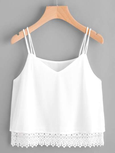 V-cut Crochet Hem Cami Top