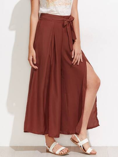 Self Tie Split Wide Leg Pants