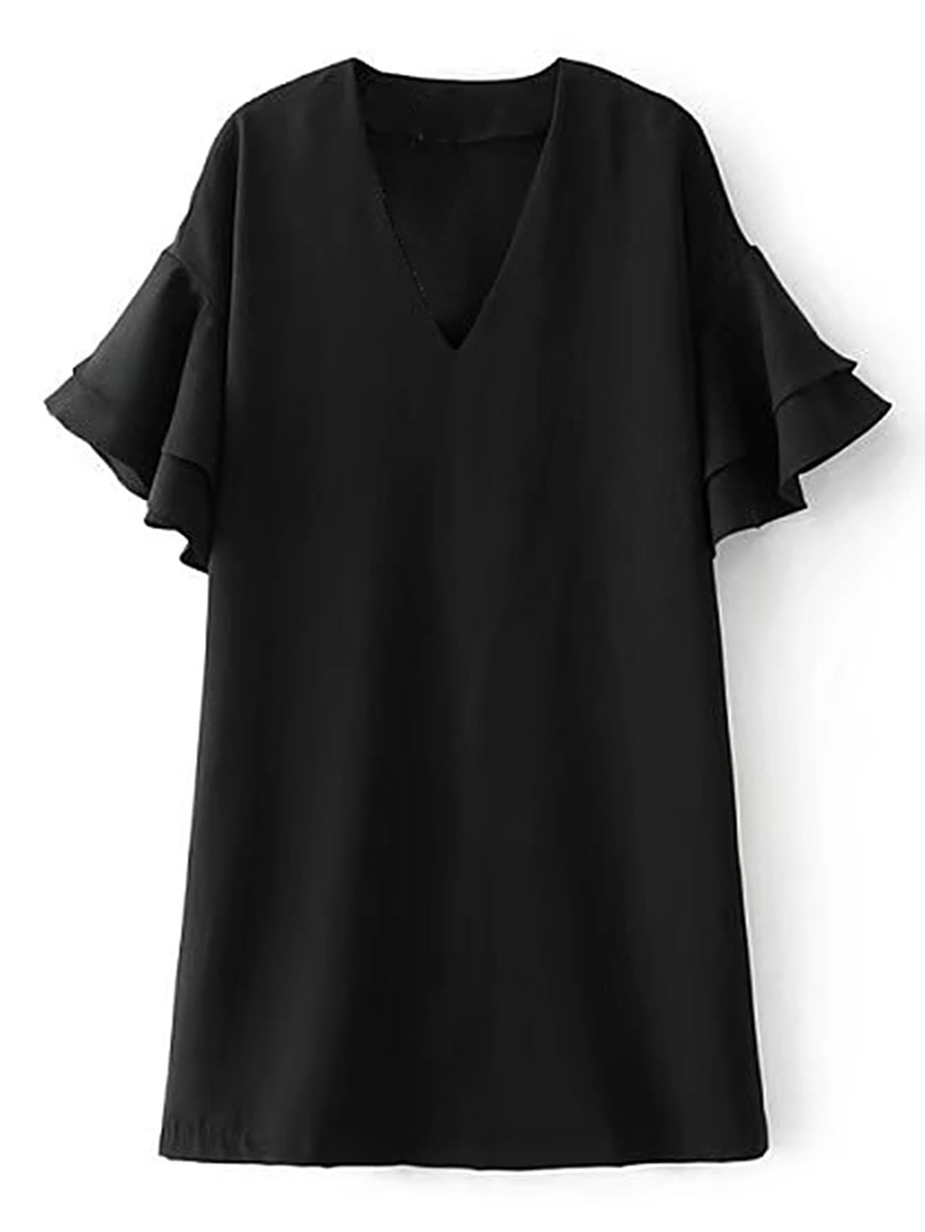 Layered Ruffle Sleeve Dress burgundy contrast sheer neck layered sleeve ruffle dress