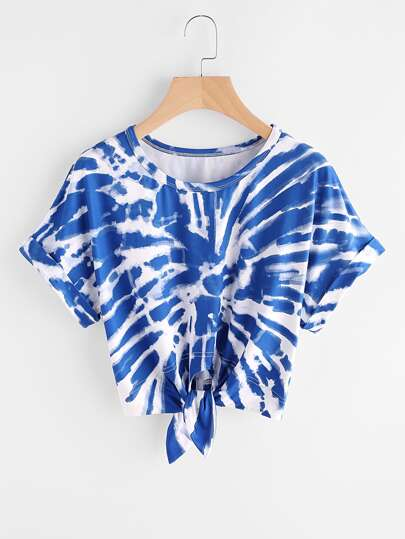 Cuffed Sleeve Knot Front Tie Dye T-shirt