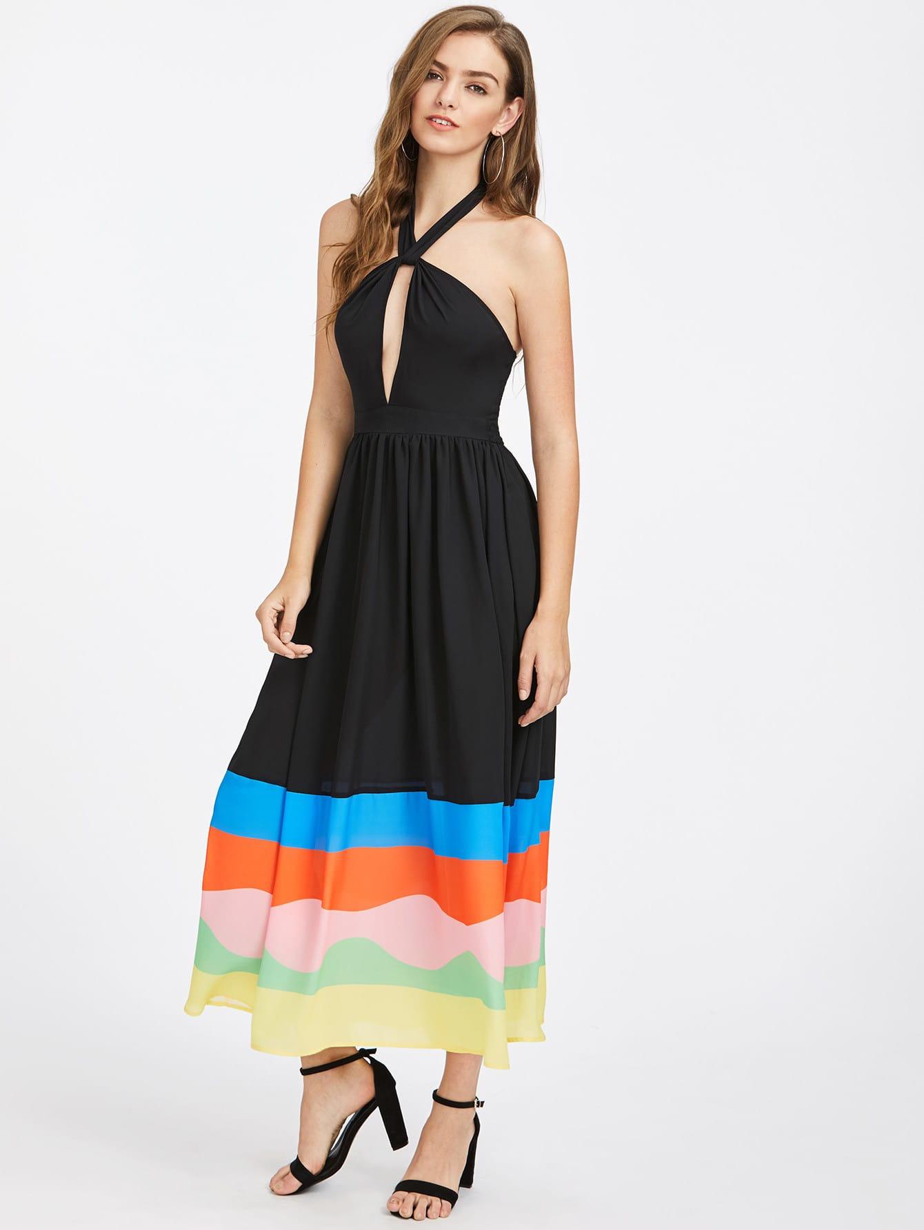Фото Keyhole Halter Striped Hem Dress. Купить с доставкой