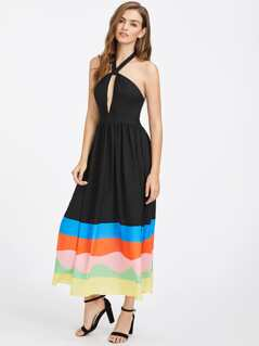 Keyhole Halter Striped Hem Dress