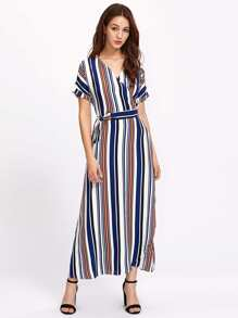 Multi-Stripe V Neckline Wrap Dress