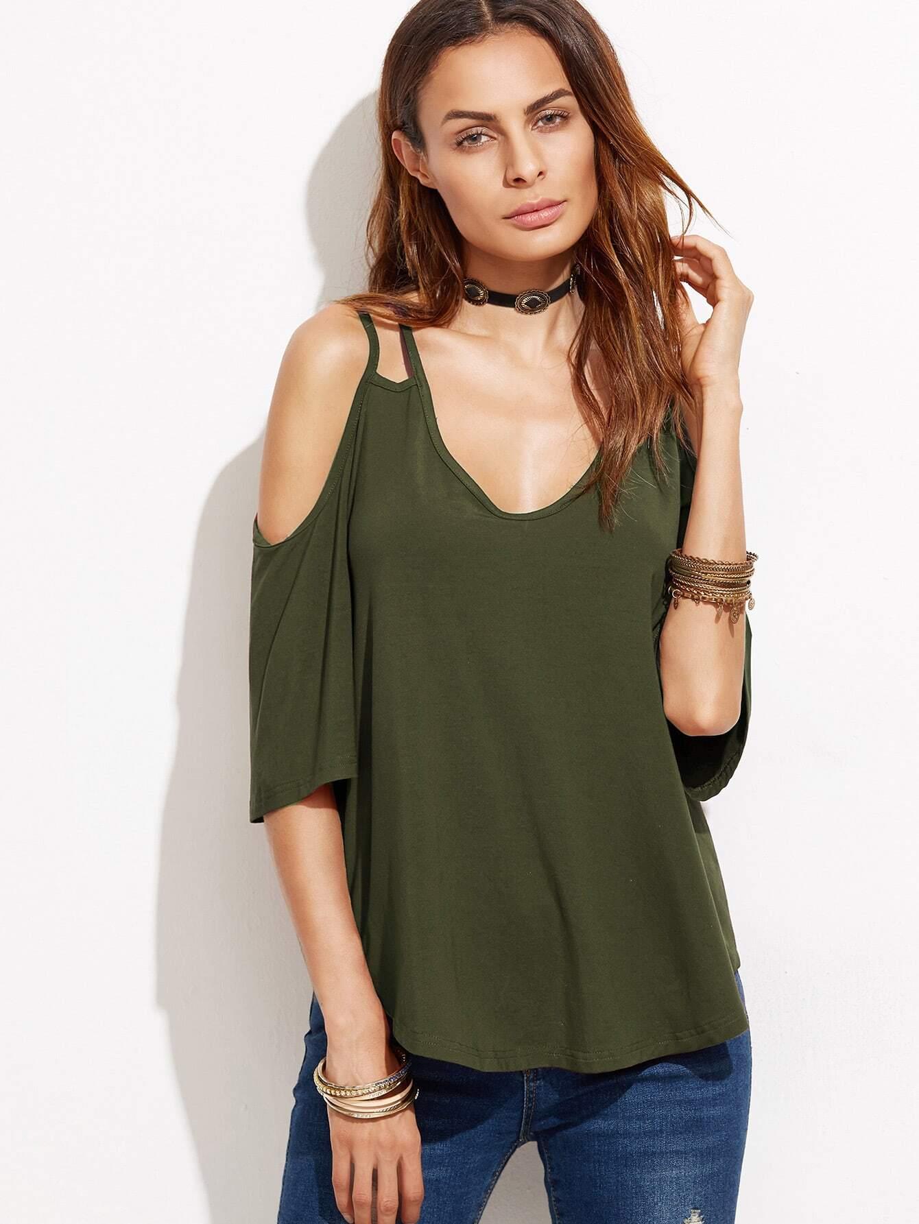Фото Strappy Cold Shoulder T-shirt. Купить с доставкой
