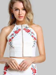 Halter Floral Embroidered Cut Out Crop WHITE