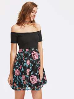 Bardot Flower Print Flare Dress