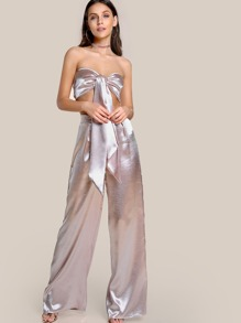 Satin Self Tie Crop Top & Matching Pant Set BLUSH