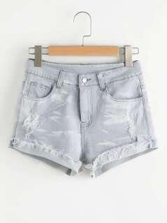 Light Wash Cuffed Distressed Denim Shorts