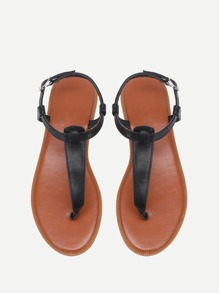 Sandales à fond plat en PU