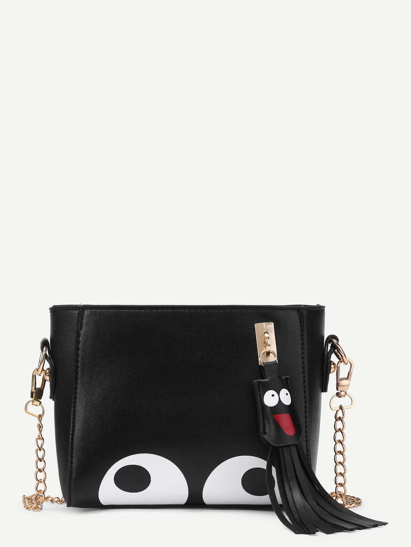 Фото Eye Print PU Chain Bag With Tassel. Купить с доставкой