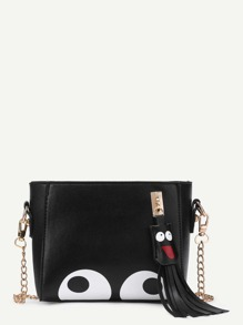 Eye Print PU Chain Bag With Tassel