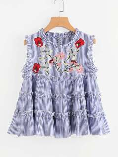 Embroidered Yoke Keyhole Back Tiered Ruffle Top