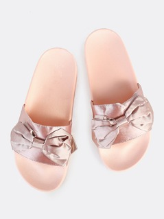 Satin Bow Slides BLUSH