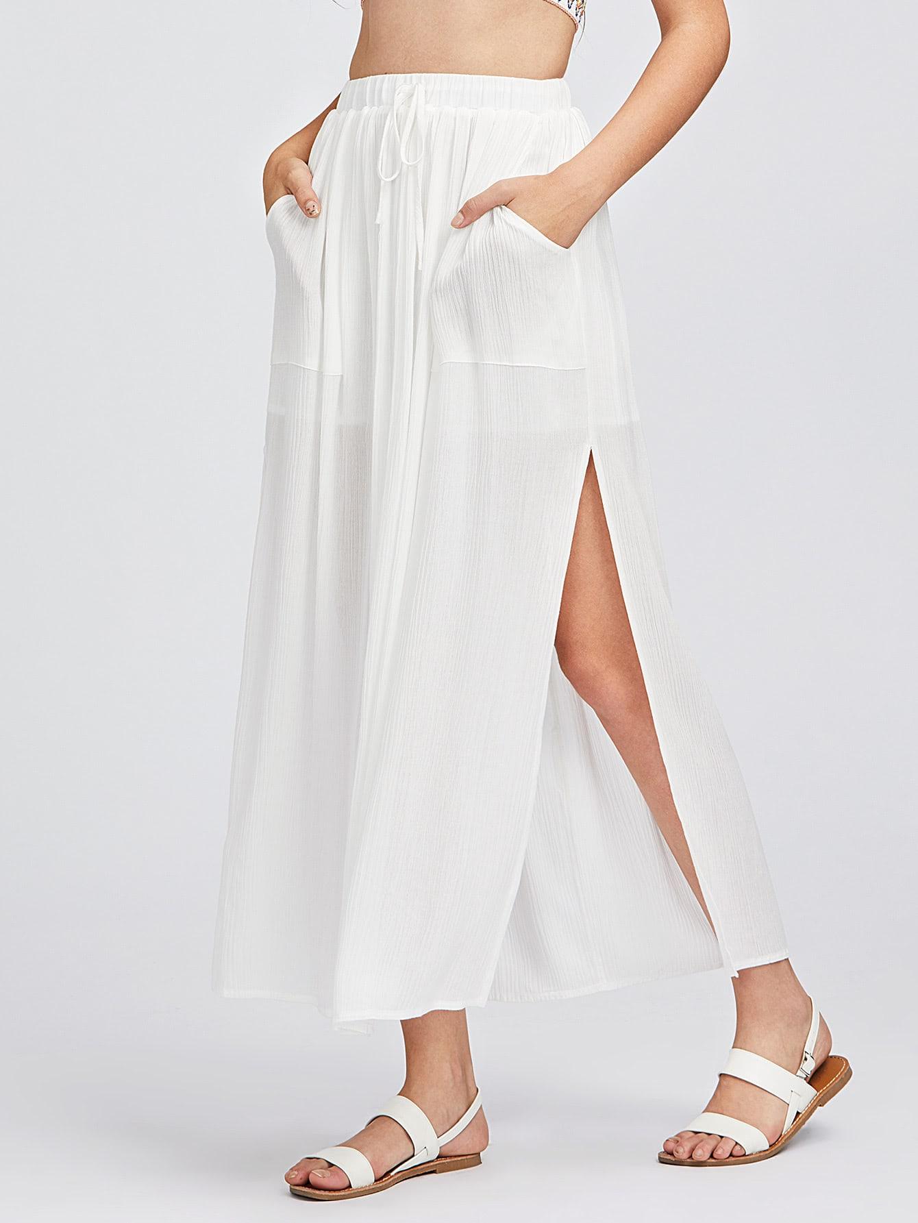 Фото Patch Pocket Front High Slit Skirt. Купить с доставкой