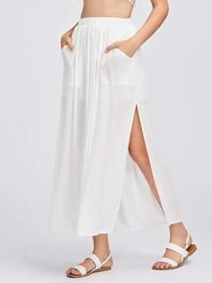 Patch Pocket Front High Slit Skirt