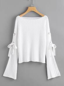 Eyelet Lace Up Fluted Sleeve Ribbed Jumper