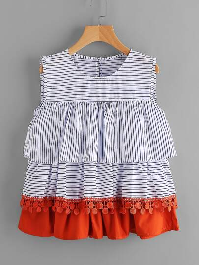 Contrast Crochet Trim Tiered Flounce Striped Blouse