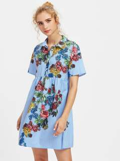 Flower Print Half Placket Smock Dress