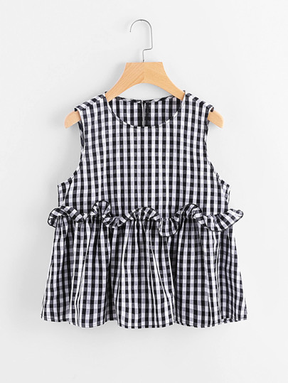 Buttoned Keyhole Back Ruffle Trim Tiered Gingham Top